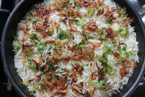 lamb biryani in a bowl