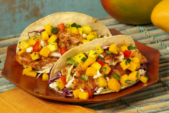 fish and mango taco
