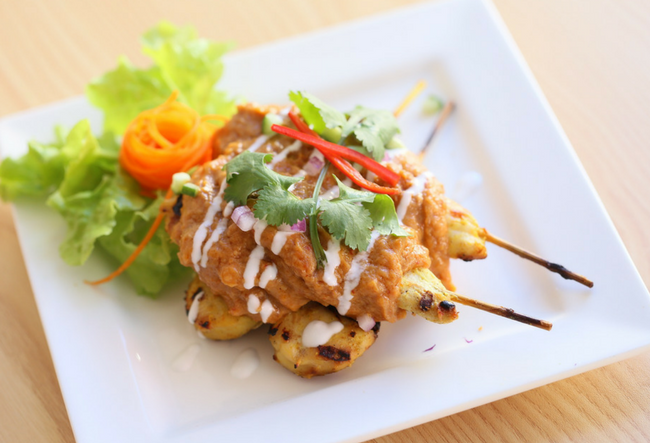 chicken satay with sauce