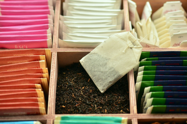 all color tea bags together